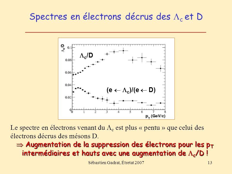 Sébastien Gadrat, Étretat 200713 Spectres en électrons décrus des c et D c /D (e c )/(e D) Le spectre en électrons venant du c est plus « pentu » que celui des électrons décrus des mésons D.