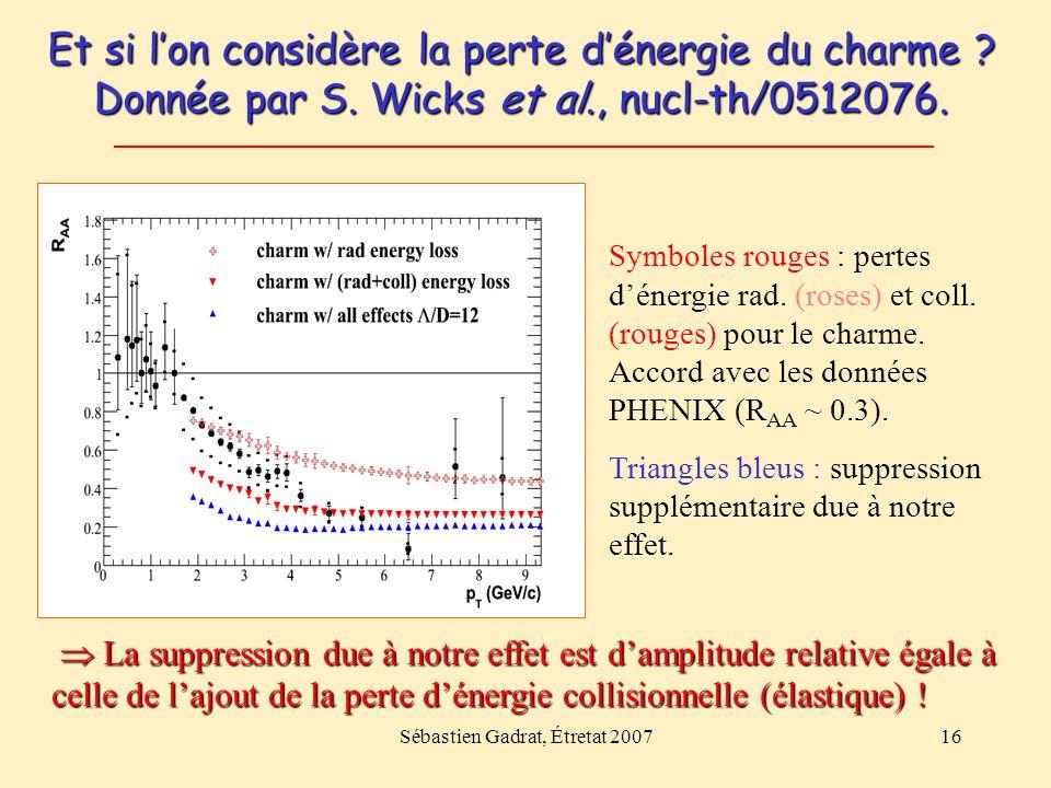 Sébastien Gadrat, Étretat 200716 Et si lon considère la perte dénergie du charme ? Donnée par S. Wicks et al., nucl-th/0512076. Symboles rouges : pert