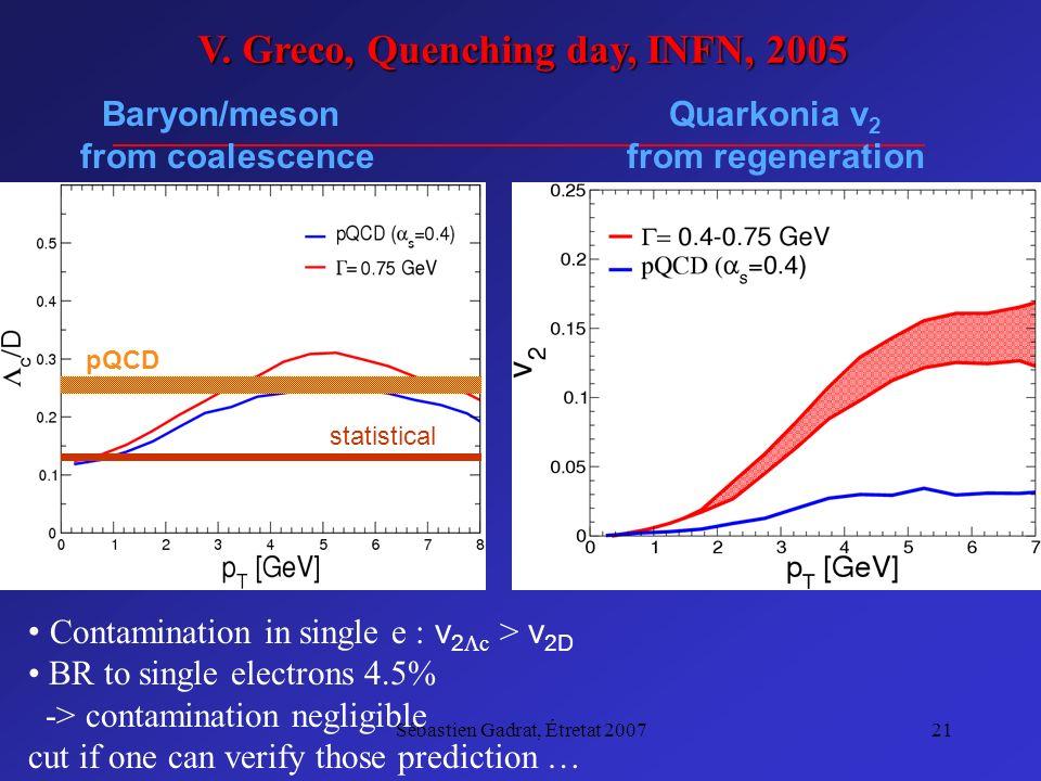 Sébastien Gadrat, Étretat 200721 pQCD statistical Quarkonia v 2 from regeneration Baryon/meson from coalescence Contamination in single e : v 2 c > v 2D BR to single electrons 4.5% -> contamination negligible cut if one can verify those prediction … V.