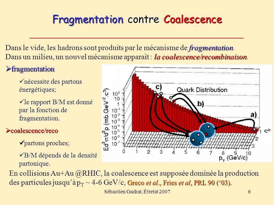 Sébastien Gadrat, Étretat 20076 Fragmentation contre Coalescence fragmentation la coalescence/recombinaison. Dans le vide, les hadrons sont produits p
