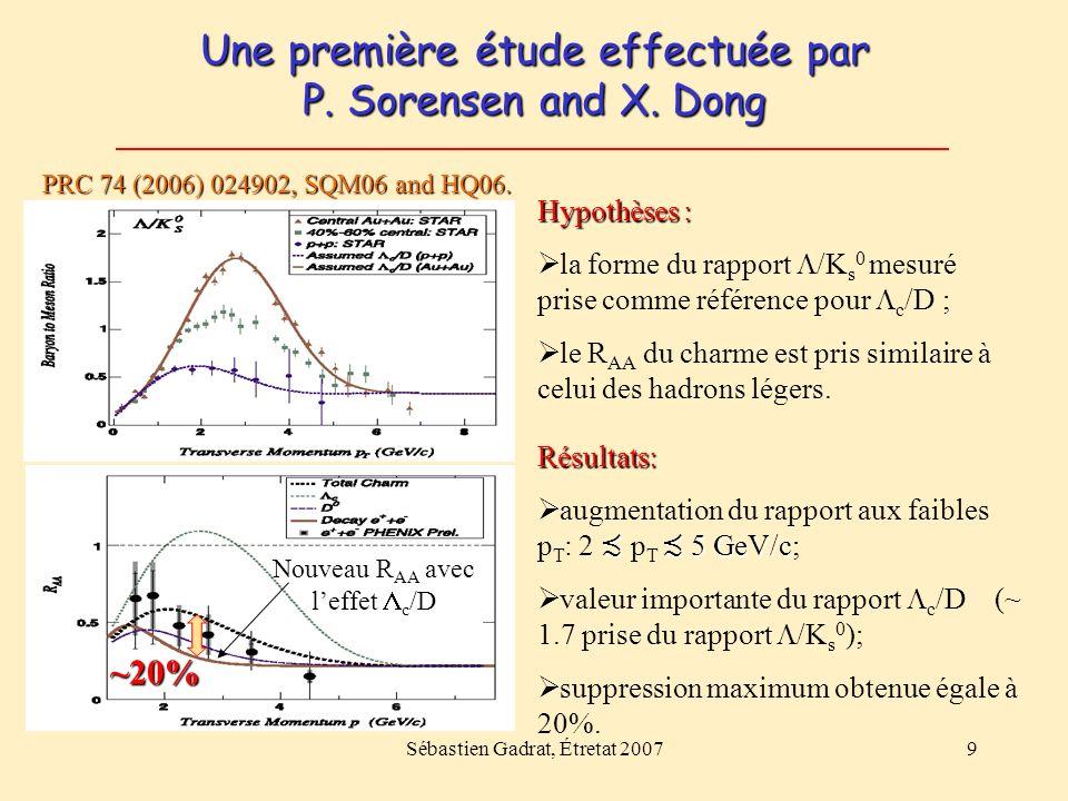Sébastien Gadrat, Étretat 20079 Une première étude effectuée par P. Sorensen and X. Dong PRC 74 (2006) 024902, SQM06 and HQ06. Résultats: 5 GeV/c augm