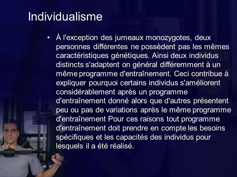 Individualisme À l exception des jumeaux monozygotes, deux personnes différentes ne possèdent pas les mêmes caractéristiques génétiques.