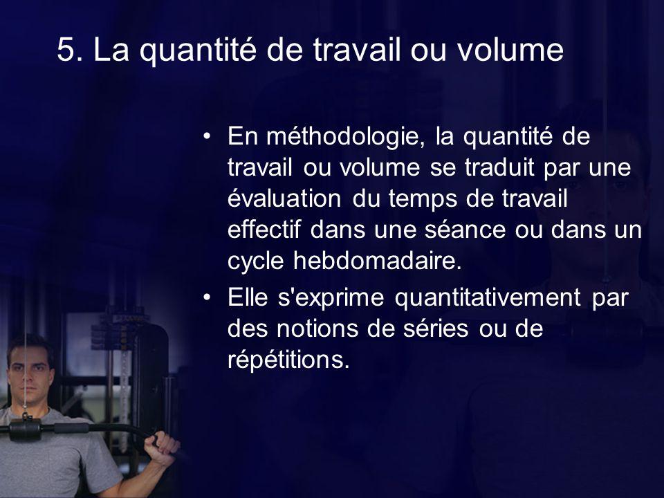 5. La quantité de travail ou volume En méthodologie, la quantité de travail ou volume se traduit par une évaluation du temps de travail effectif dans