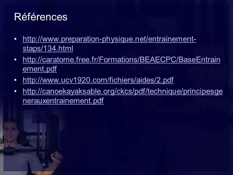Références http://www.preparation-physique.net/entrainement- staps/134.htmlhttp://www.preparation-physique.net/entrainement- staps/134.html http://caratome.free.fr/Formations/BEAECPC/BaseEntrain ement.pdfhttp://caratome.free.fr/Formations/BEAECPC/BaseEntrain ement.pdf http://www.ucv1920.com/fichiers/aides/2.pdf http://canoekayaksable.org/ckcs/pdf/technique/principesge nerauxentrainement.pdfhttp://canoekayaksable.org/ckcs/pdf/technique/principesge nerauxentrainement.pdf