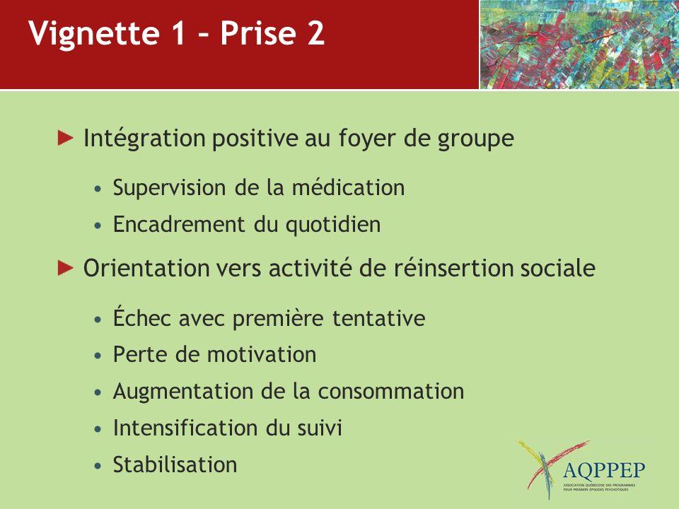 Vignette 1 – Prise 2 Intégration positive au foyer de groupe Supervision de la médication Encadrement du quotidien Orientation vers activité de réinse
