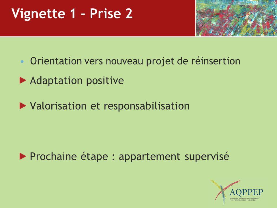 Vignette 1 – Prise 2 Orientation vers nouveau projet de réinsertion Adaptation positive Valorisation et responsabilisation Prochaine étape : apparteme