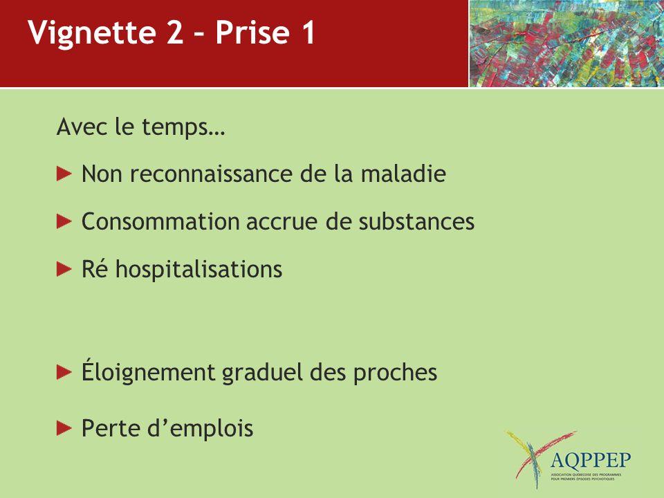 Vignette 2 – Prise 1 Avec le temps… Non reconnaissance de la maladie Consommation accrue de substances Ré hospitalisations Éloignement graduel des pro