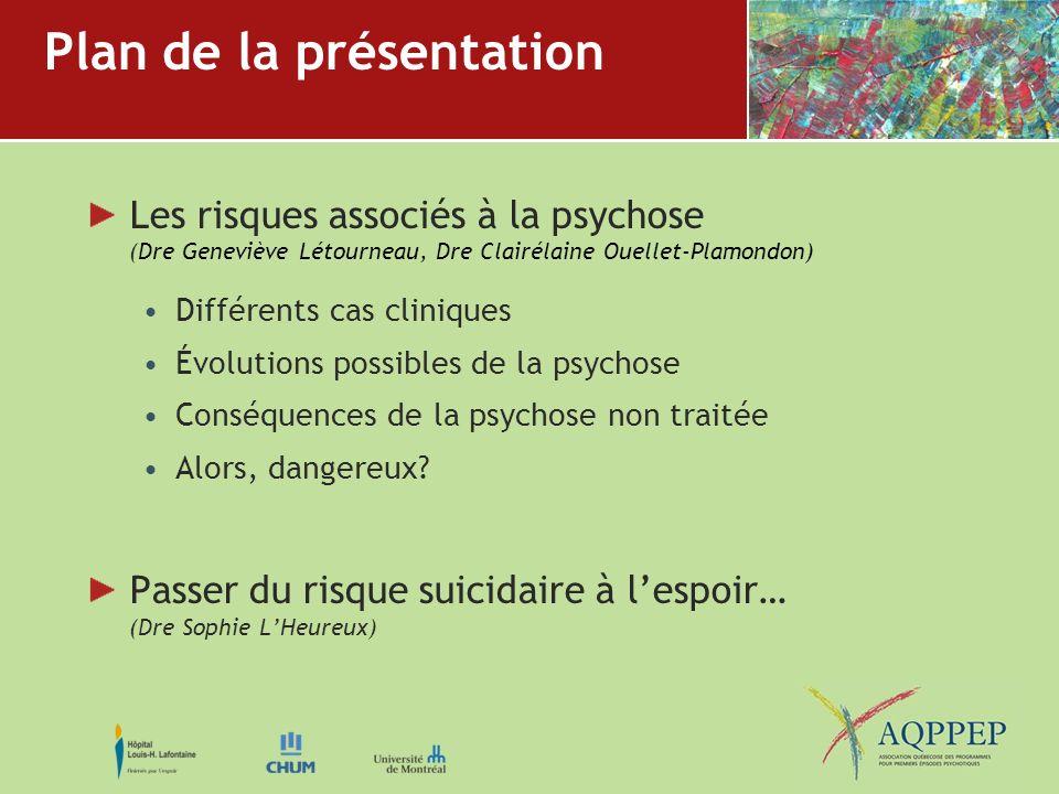 Plan de la présentation Les risques associés à la psychose (Dre Geneviève Létourneau, Dre Clairélaine Ouellet-Plamondon) Différents cas cliniques Évol
