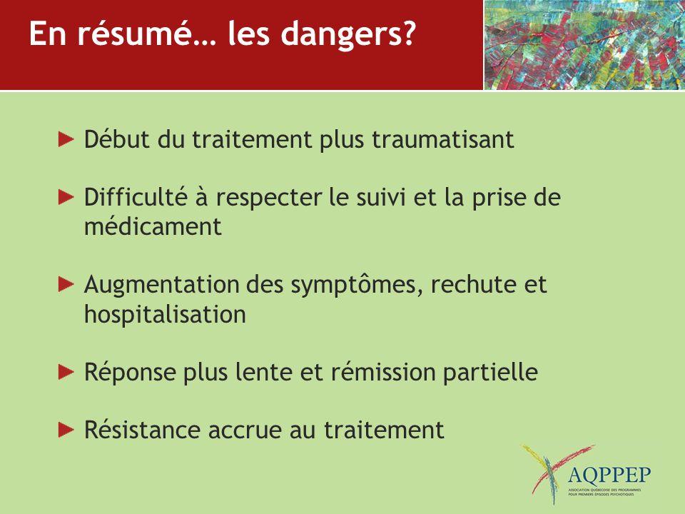 En résumé… les dangers? Début du traitement plus traumatisant Difficulté à respecter le suivi et la prise de médicament Augmentation des symptômes, re