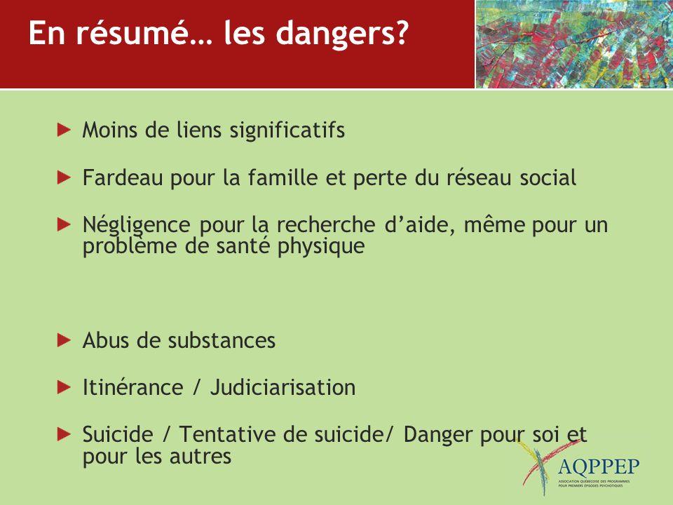 En résumé… les dangers? Moins de liens significatifs Fardeau pour la famille et perte du réseau social Négligence pour la recherche daide, même pour u