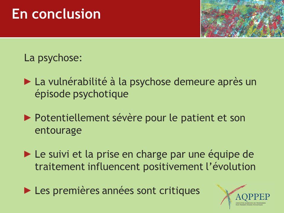 En conclusion La psychose: La vulnérabilité à la psychose demeure après un épisode psychotique Potentiellement sévère pour le patient et son entourage