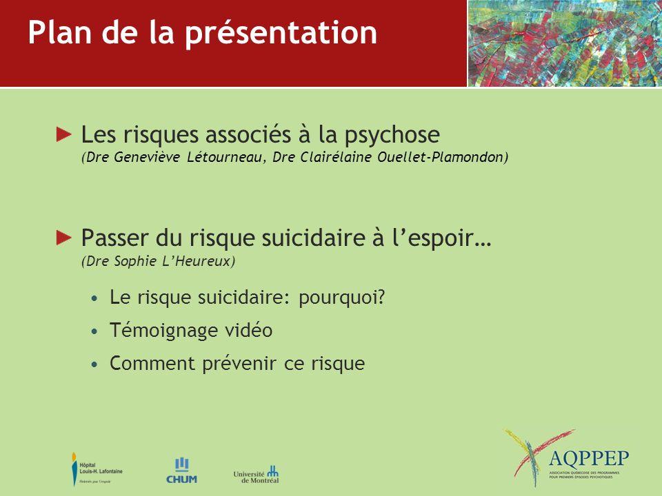 Plan de la présentation Les risques associés à la psychose (Dre Geneviève Létourneau, Dre Clairélaine Ouellet-Plamondon) Passer du risque suicidaire à