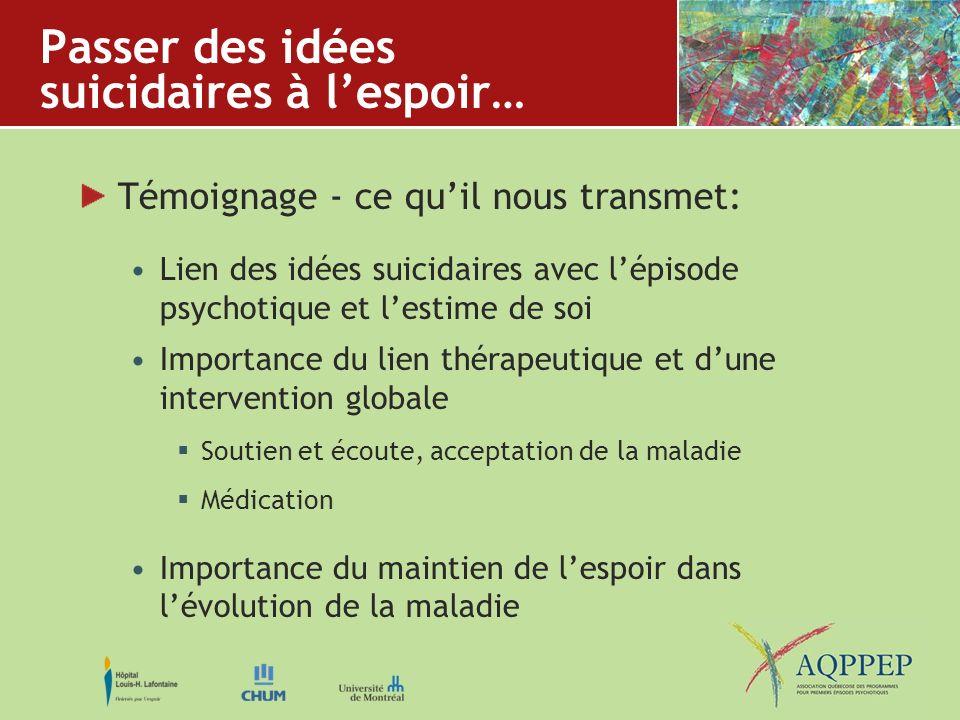 Passer des idées suicidaires à lespoir… Témoignage - ce quil nous transmet: Lien des idées suicidaires avec lépisode psychotique et lestime de soi Imp