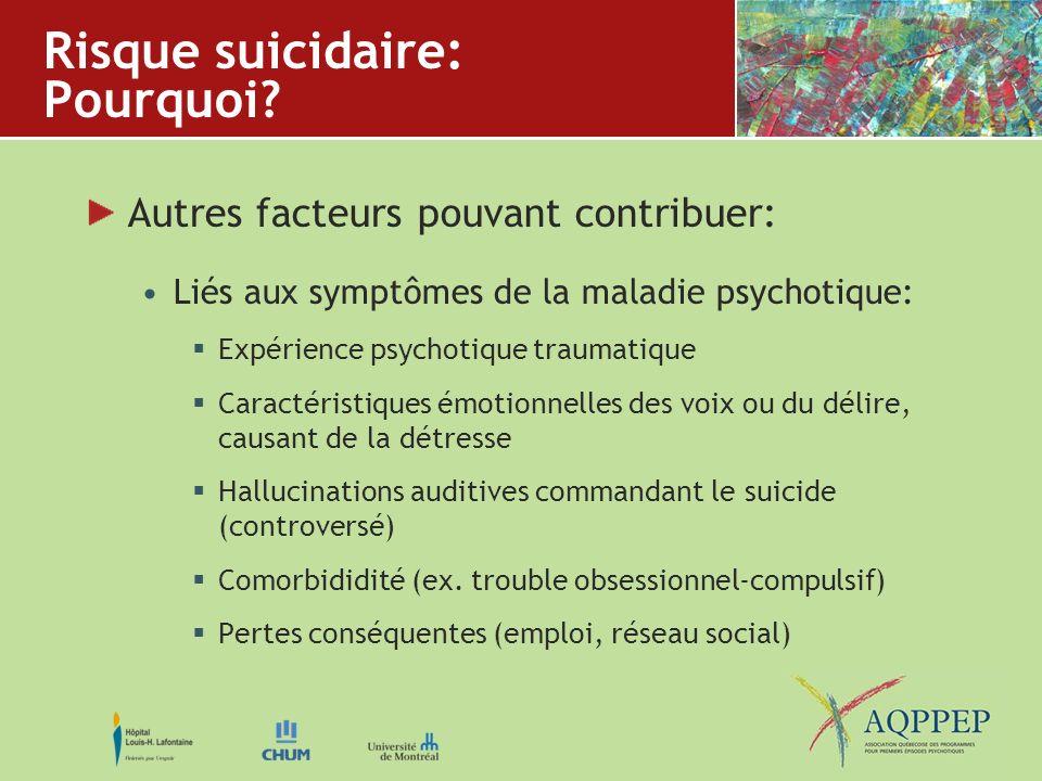 Risque suicidaire: Pourquoi? Autres facteurs pouvant contribuer: Liés aux symptômes de la maladie psychotique: Expérience psychotique traumatique Cara