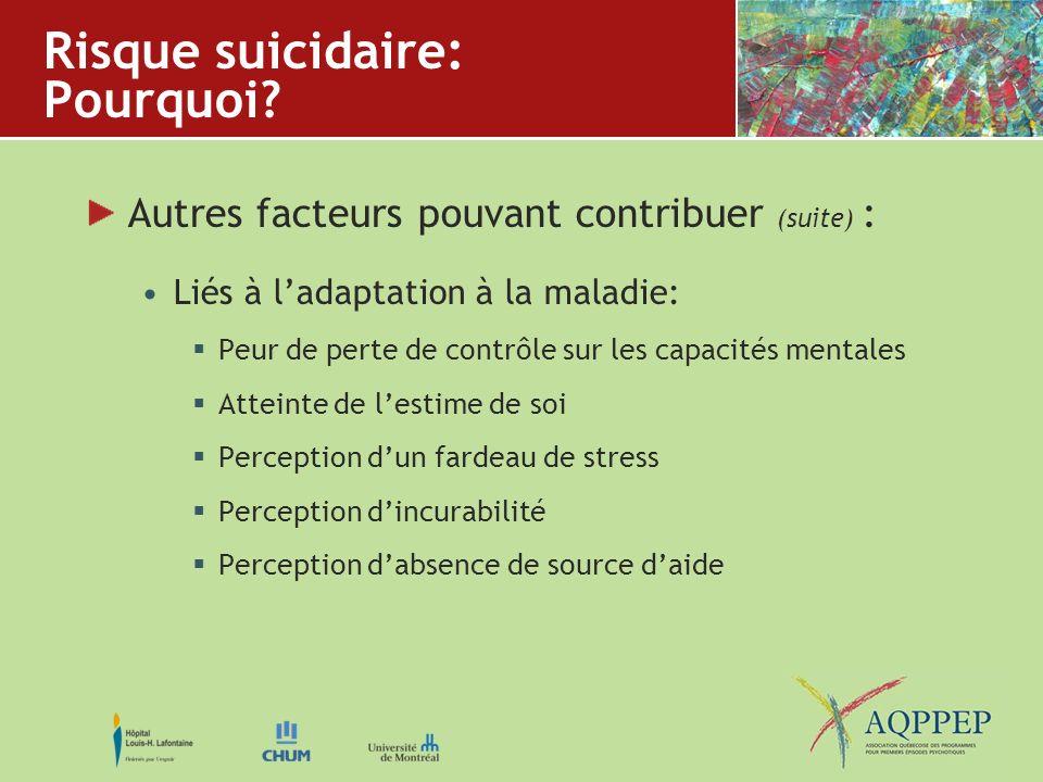 Risque suicidaire: Pourquoi? Autres facteurs pouvant contribuer (suite) : Liés à ladaptation à la maladie: Peur de perte de contrôle sur les capacités