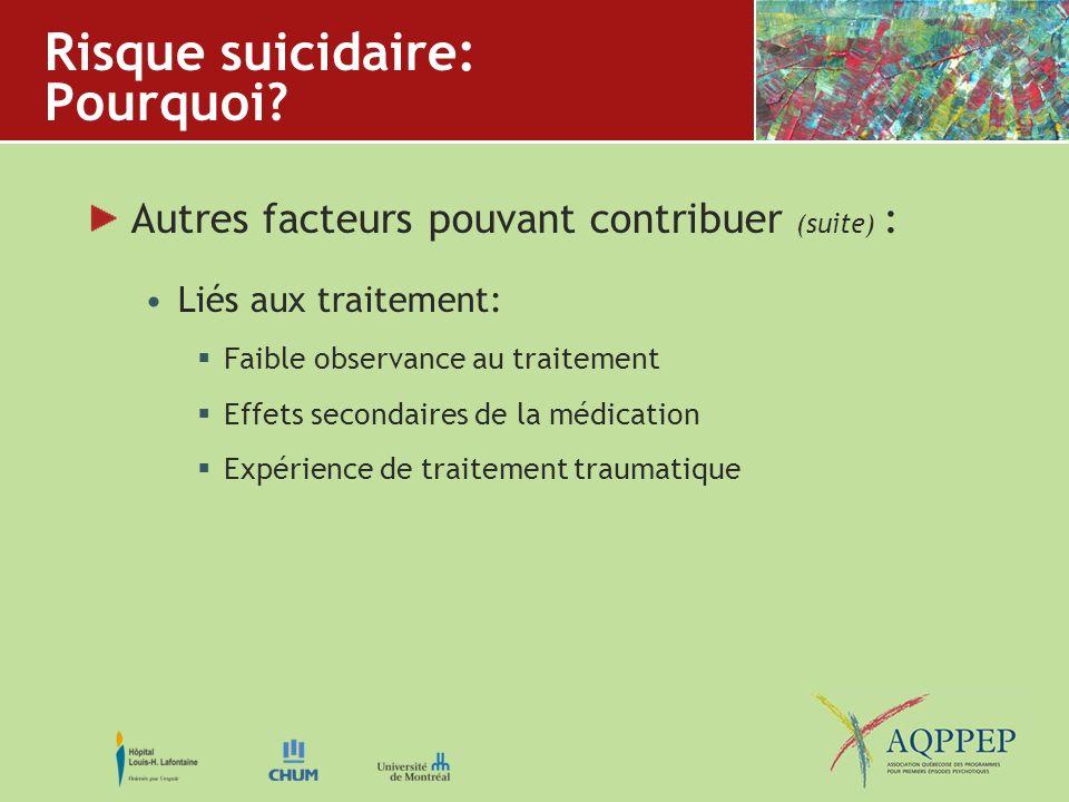 Risque suicidaire: Pourquoi? Autres facteurs pouvant contribuer (suite) : Liés aux traitement: Faible observance au traitement Effets secondaires de l