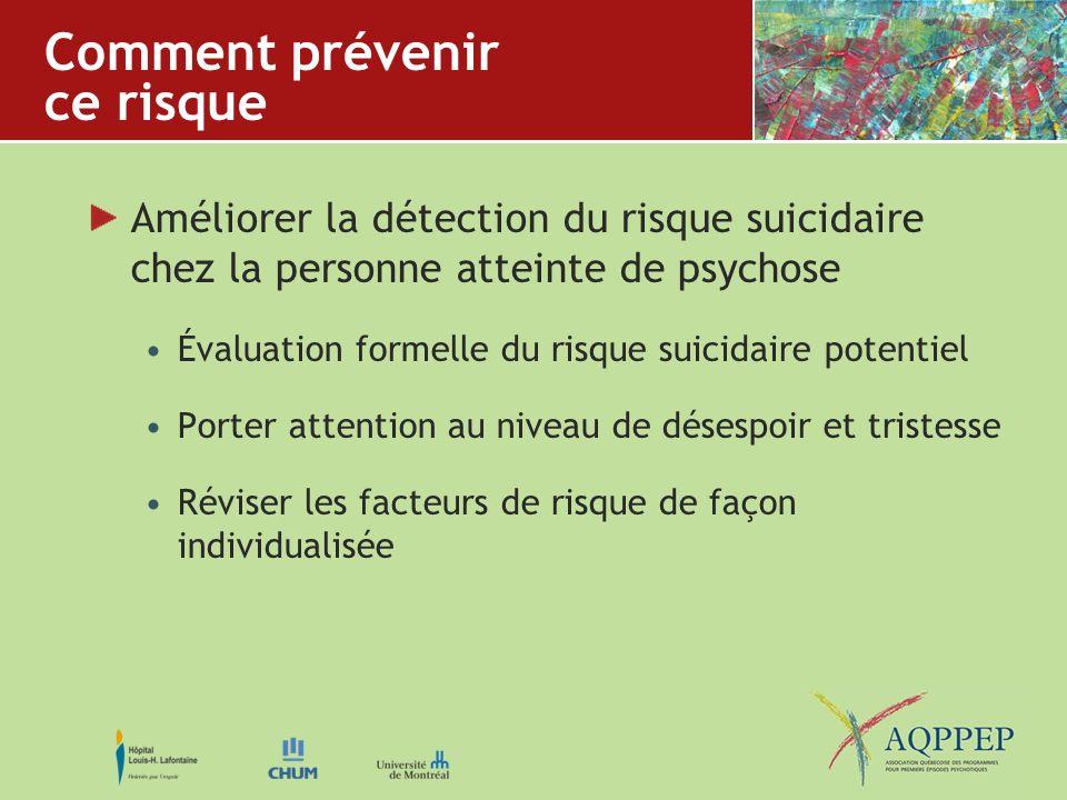 Comment prévenir ce risque Améliorer la détection du risque suicidaire chez la personne atteinte de psychose Évaluation formelle du risque suicidaire