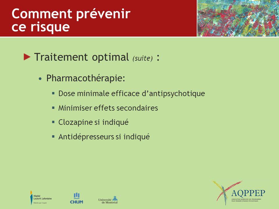 Comment prévenir ce risque Traitement optimal (suite) : Pharmacothérapie: Dose minimale efficace dantipsychotique Minimiser effets secondaires Clozapi