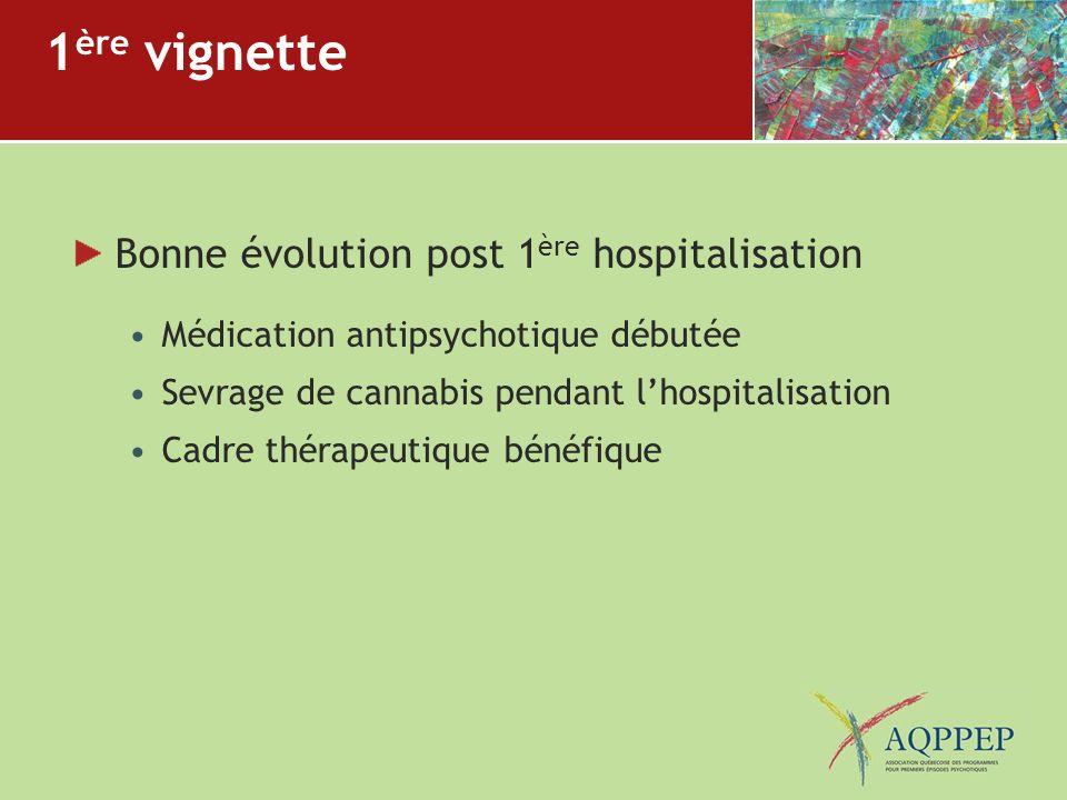 1 ère vignette Bonne évolution post 1 ère hospitalisation Médication antipsychotique débutée Sevrage de cannabis pendant lhospitalisation Cadre thérap