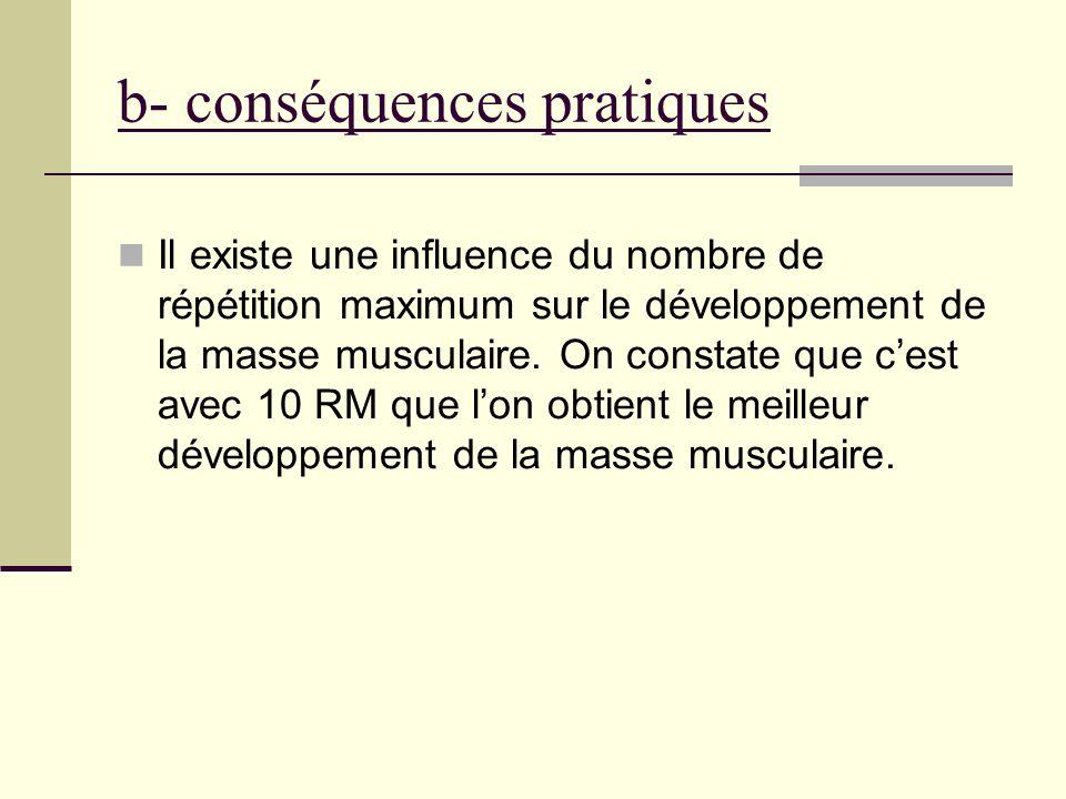 b- conséquences pratiques Il existe une influence du nombre de répétition maximum sur le développement de la masse musculaire. On constate que cest av