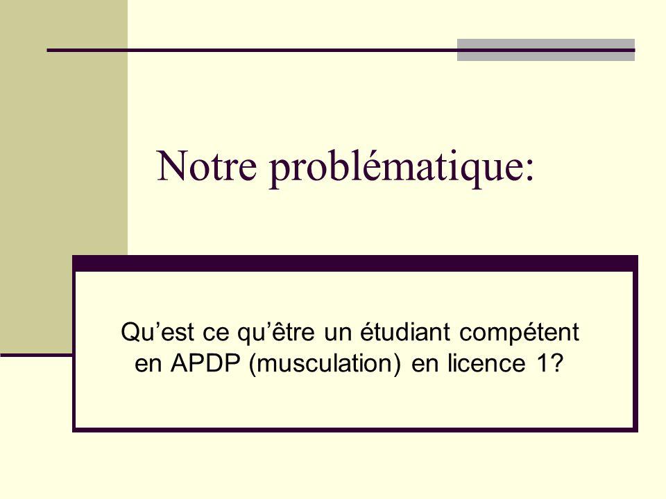 Notre problématique: Quest ce quêtre un étudiant compétent en APDP (musculation) en licence 1?