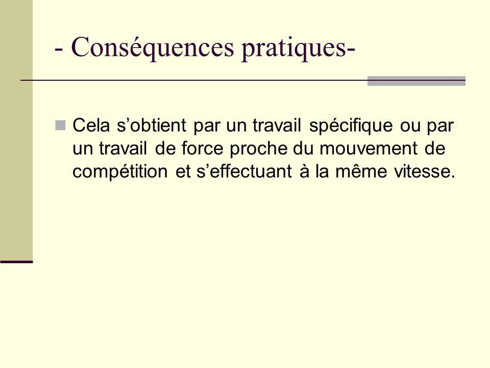 - Conséquences pratiques- Cela sobtient par un travail spécifique ou par un travail de force proche du mouvement de compétition et seffectuant à la mê