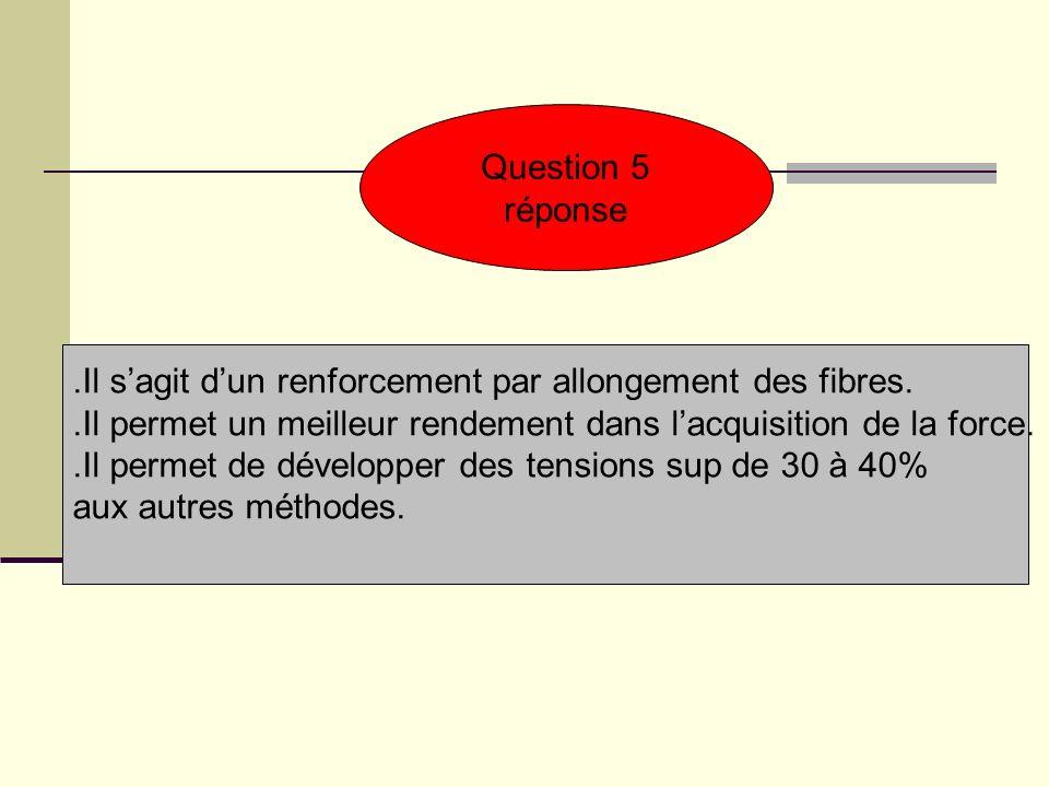 Question 5 réponse.Il sagit dun renforcement par allongement des fibres..Il permet un meilleur rendement dans lacquisition de la force..Il permet de d