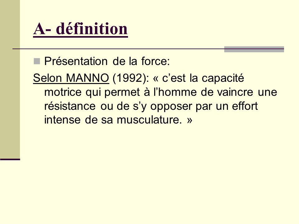A- définition Présentation de la force: Selon MANNO (1992): « cest la capacité motrice qui permet à lhomme de vaincre une résistance ou de sy opposer