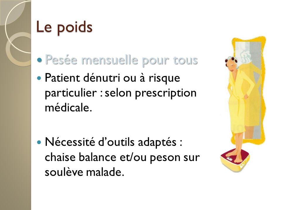 Le poids Pesée mensuelle pour tous Pesée mensuelle pour tous Patient dénutri ou à risque particulier : selon prescription médicale.