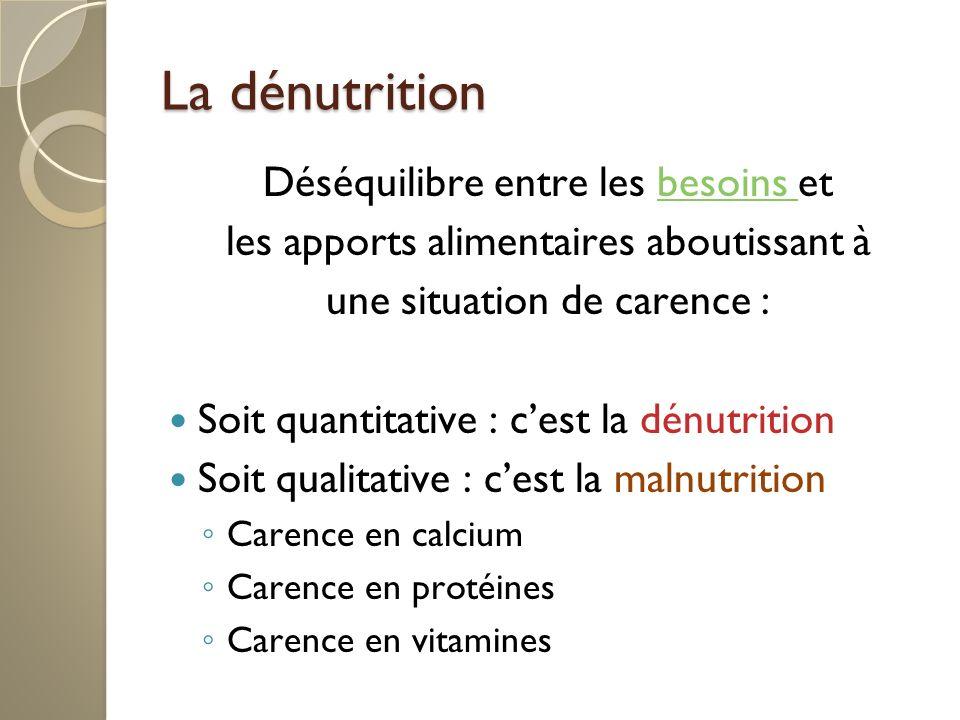 La dénutrition Déséquilibre entre les besoins etbesoins les apports alimentaires aboutissant à une situation de carence : Soit quantitative : cest la dénutrition Soit qualitative : cest la malnutrition Carence en calcium Carence en protéines Carence en vitamines