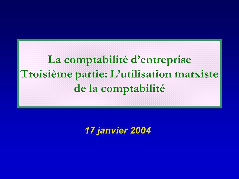 La comptabilité dentreprise Troisième partie: Lutilisation marxiste de la comptabilité 17 janvier 2004