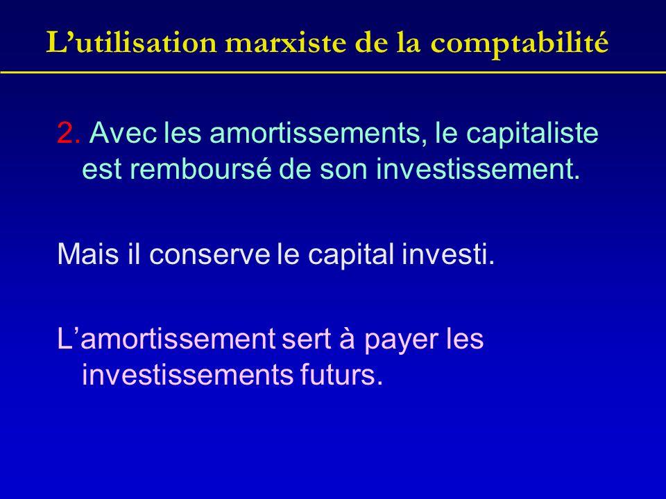 Lutilisation marxiste de la comptabilité 2. Avec les amortissements, le capitaliste est remboursé de son investissement. Mais il conserve le capital i