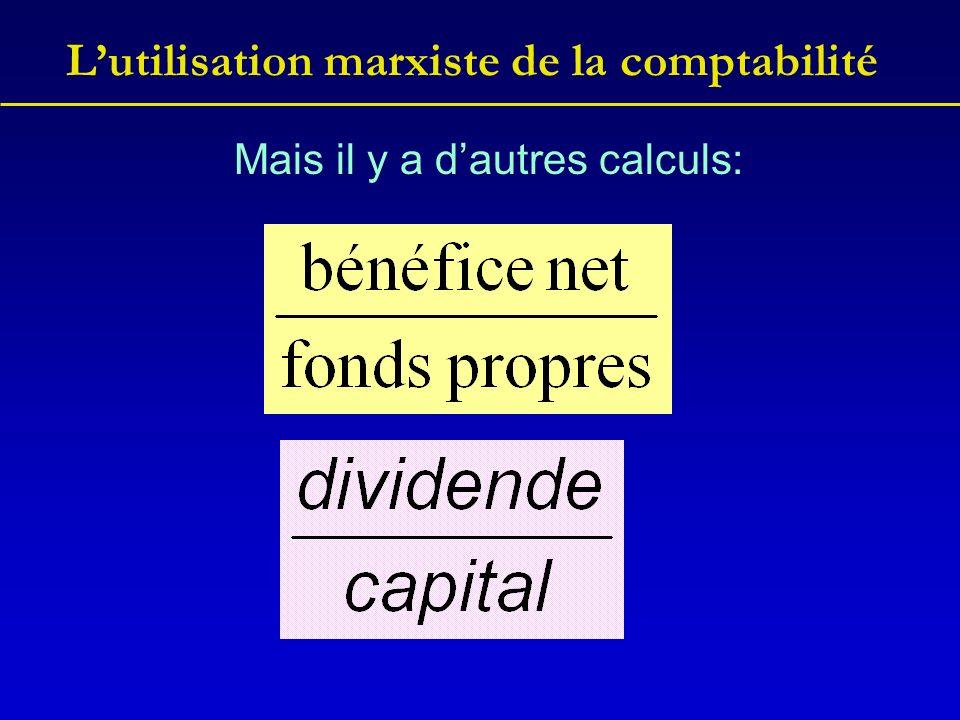 Lutilisation marxiste de la comptabilité Mais il y a dautres calculs: