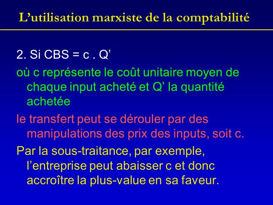 Lutilisation marxiste de la comptabilité 2. Si CBS = c. Q où c représente le coût unitaire moyen de chaque input acheté et Q la quantité achetée le tr