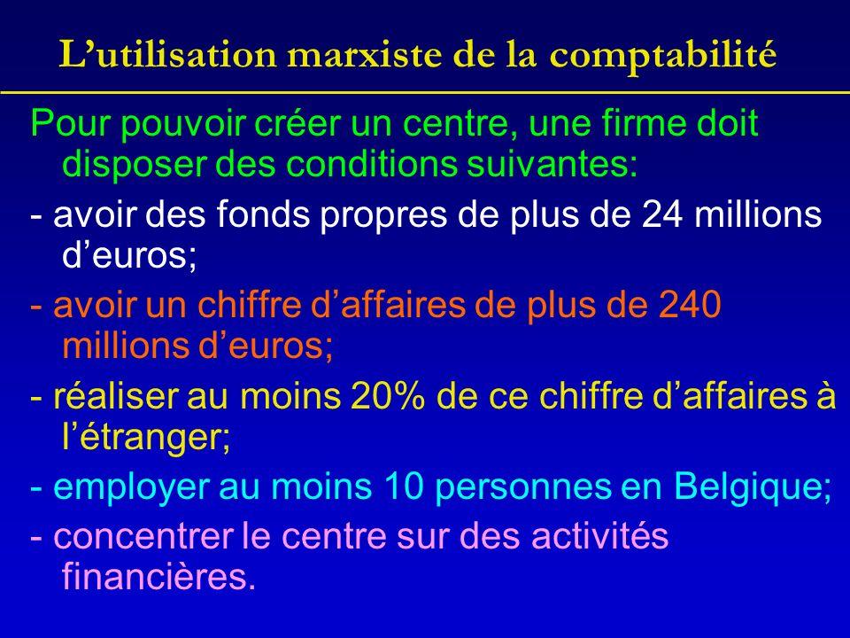 Lutilisation marxiste de la comptabilité Pour pouvoir créer un centre, une firme doit disposer des conditions suivantes: - avoir des fonds propres de