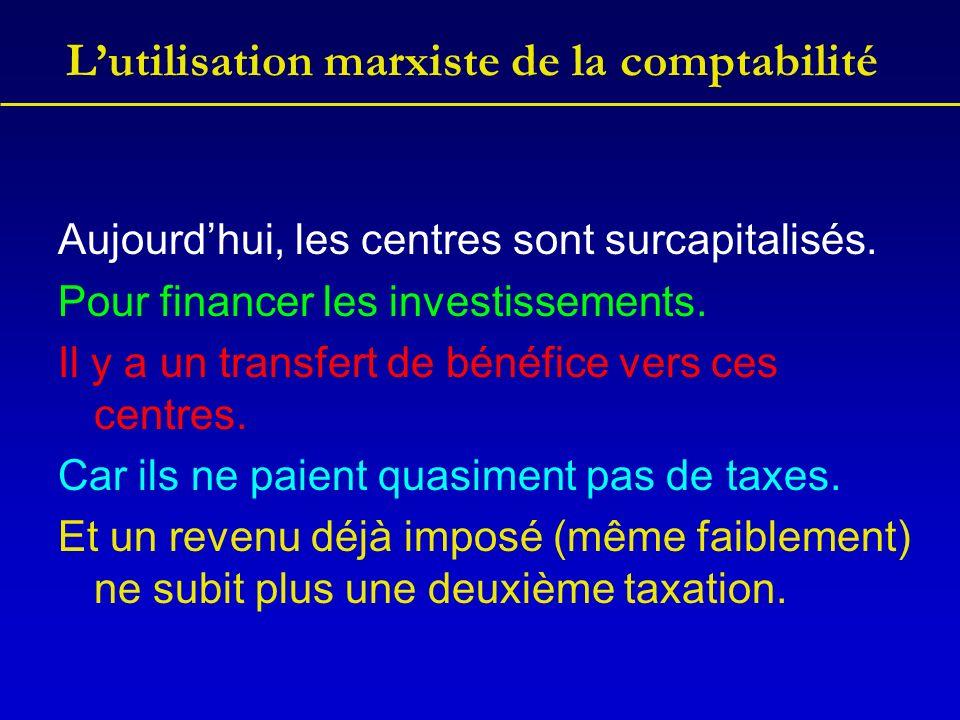 Lutilisation marxiste de la comptabilité Aujourdhui, les centres sont surcapitalisés. Pour financer les investissements. Il y a un transfert de bénéfi