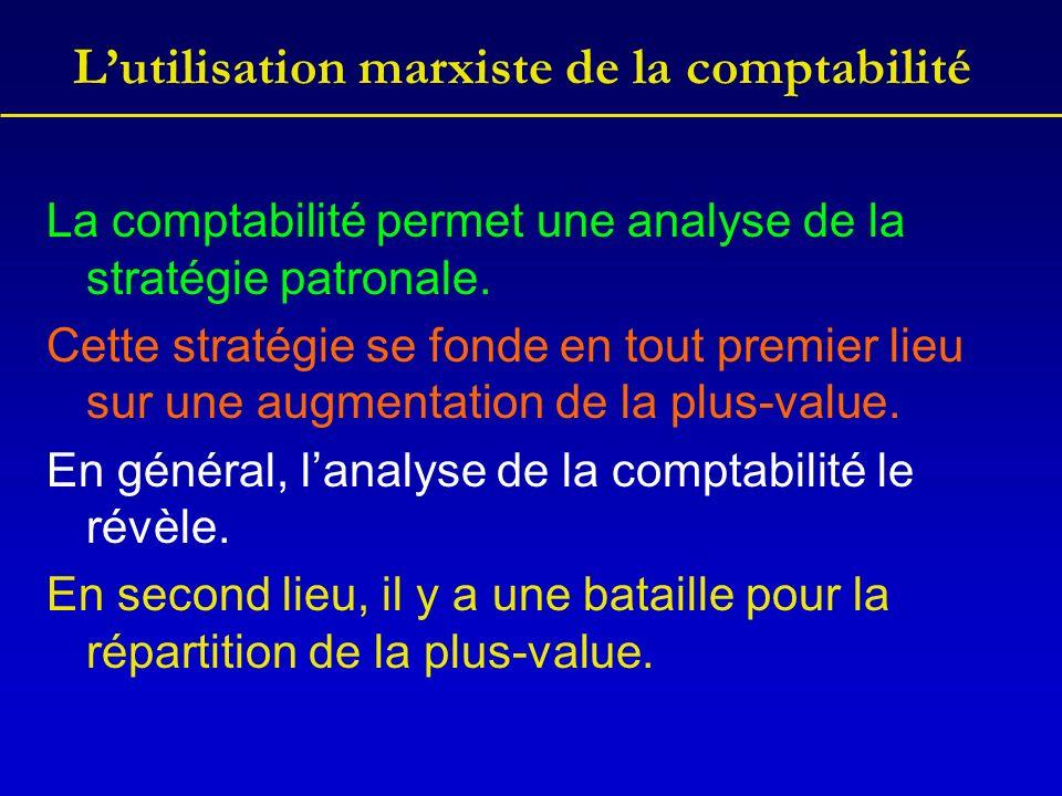 Lutilisation marxiste de la comptabilité La comptabilité permet une analyse de la stratégie patronale. Cette stratégie se fonde en tout premier lieu s