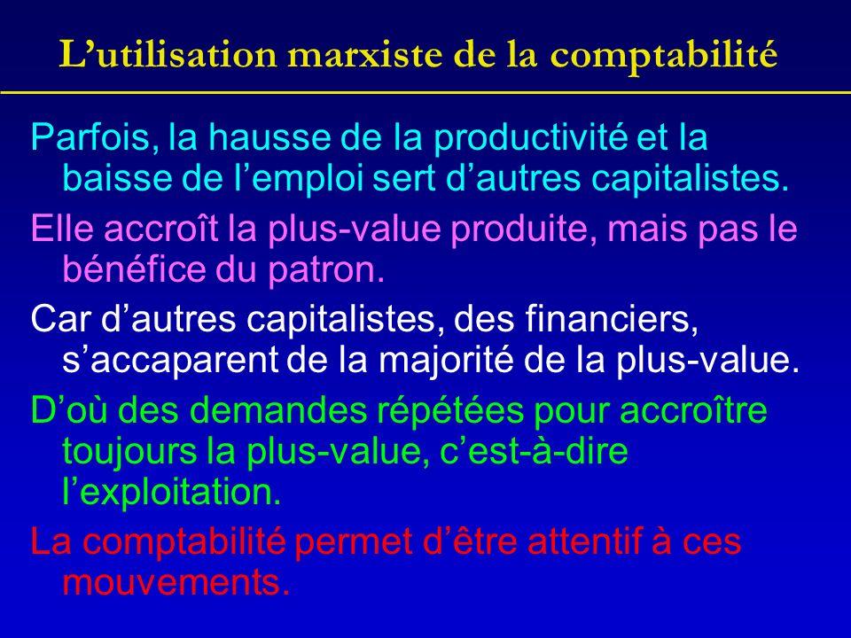 Lutilisation marxiste de la comptabilité Parfois, la hausse de la productivité et la baisse de lemploi sert dautres capitalistes. Elle accroît la plus