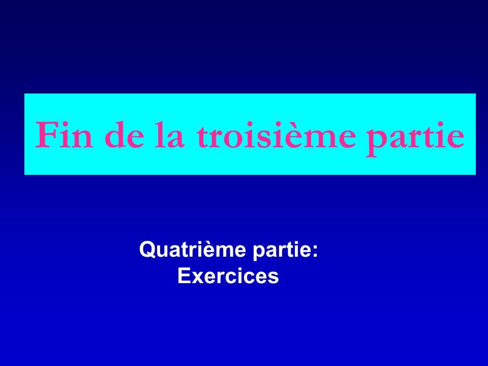 Fin de la troisième partie Quatrième partie: Exercices
