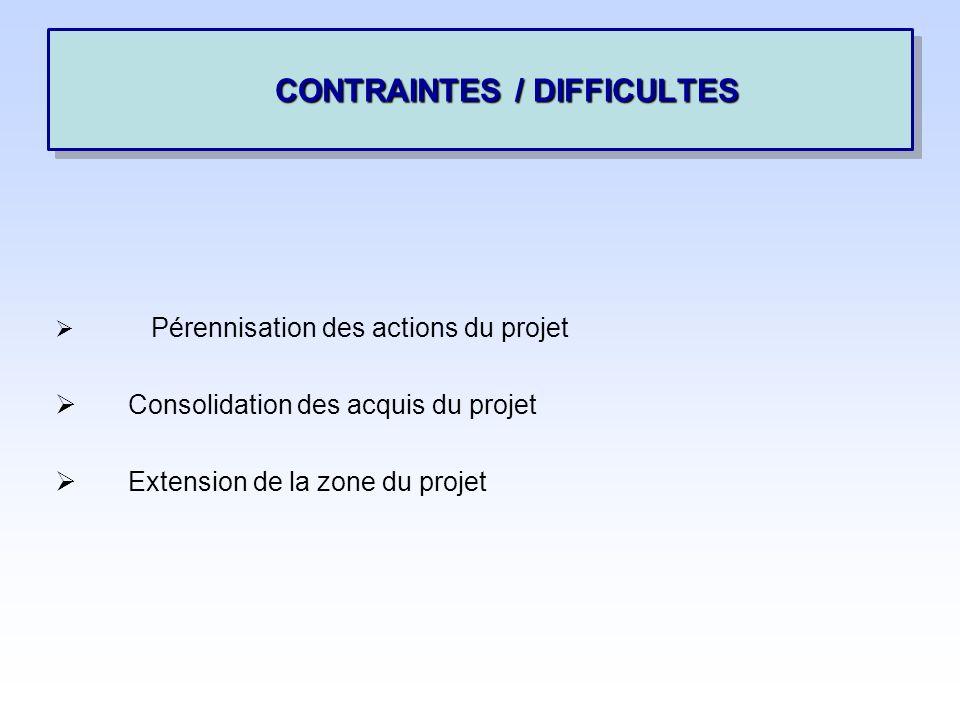 Pérennisation des actions du projet Consolidation des acquis du projet Extension de la zone du projet CONTRAINTES / DIFFICULTES CONTRAINTES / DIFFICULTES
