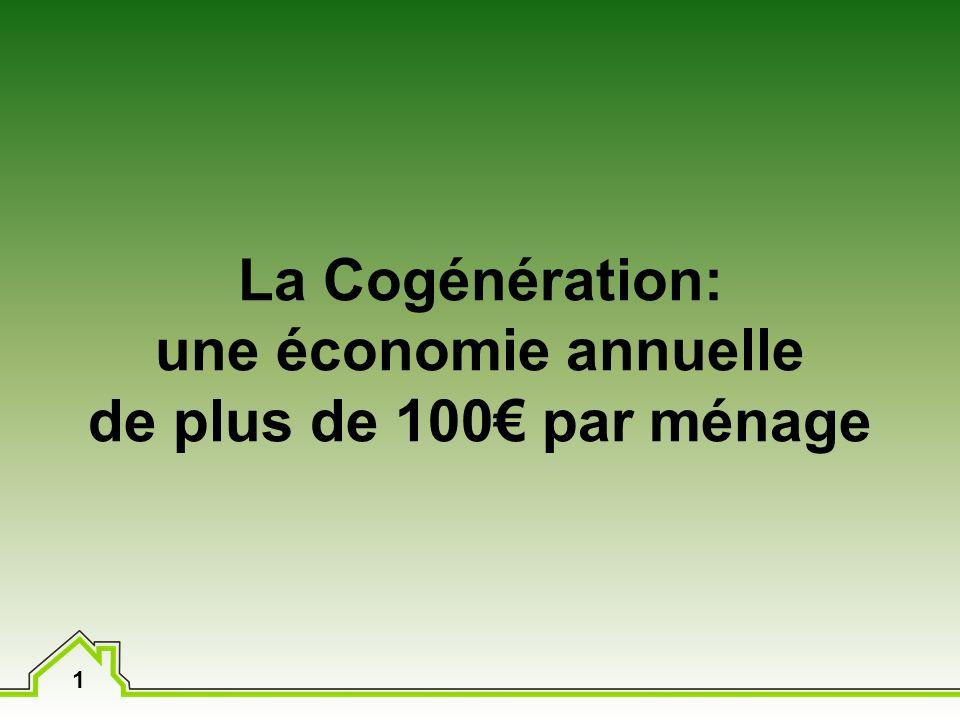 1 La Cogénération: une économie annuelle de plus de 100 par ménage