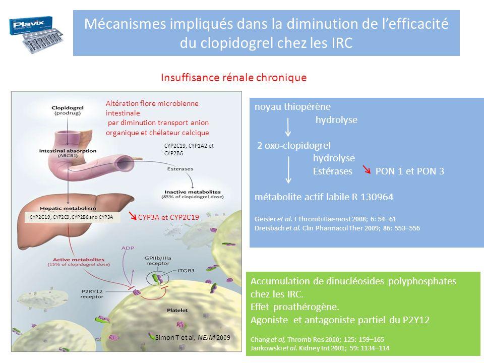 Mécanismes impliqués dans la diminution de lefficacité du clopidogrel chez les IRC Simon T et al, NEJM 2009 noyau thiopérène hydrolyse 2 oxo-clopidogr