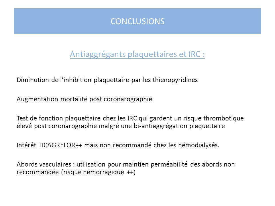CONCLUSIONS Antiaggrégants plaquettaires et IRC : Diminution de linhibition plaquettaire par les thienopyridines Augmentation mortalité post coronarog