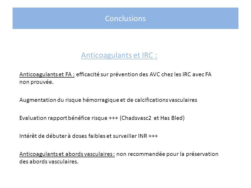Conclusions Anticoagulants et IRC : Anticoagulants et FA : efficacité sur prévention des AVC chez les IRC avec FA non prouvée. Augmentation du risque