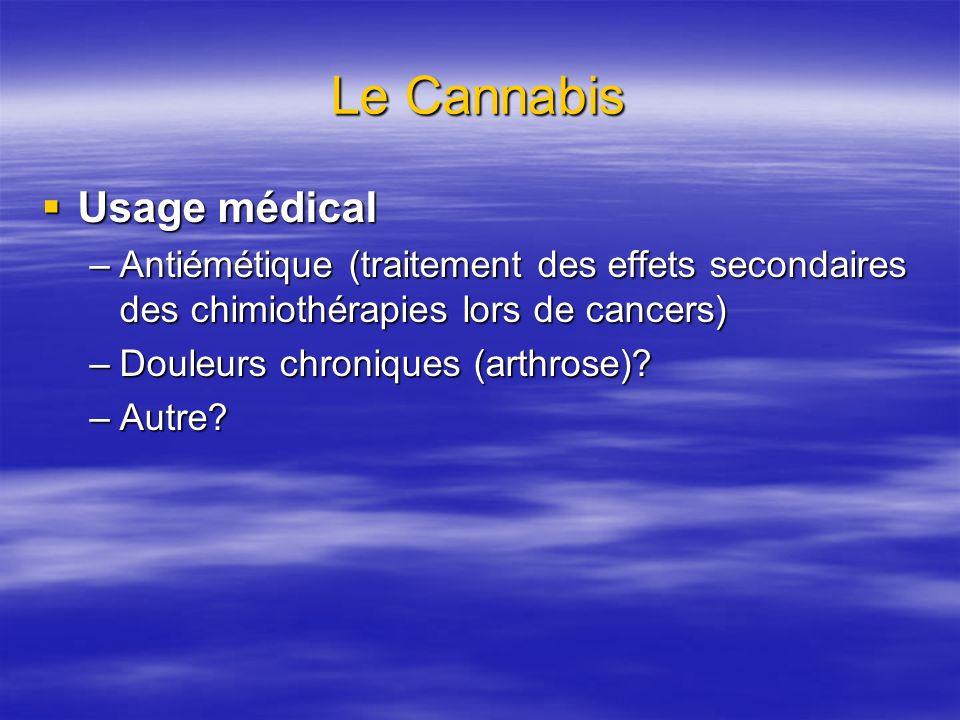 Le Cannabis Usage médical Usage médical –Antiémétique (traitement des effets secondaires des chimiothérapies lors de cancers) –Douleurs chroniques (arthrose).