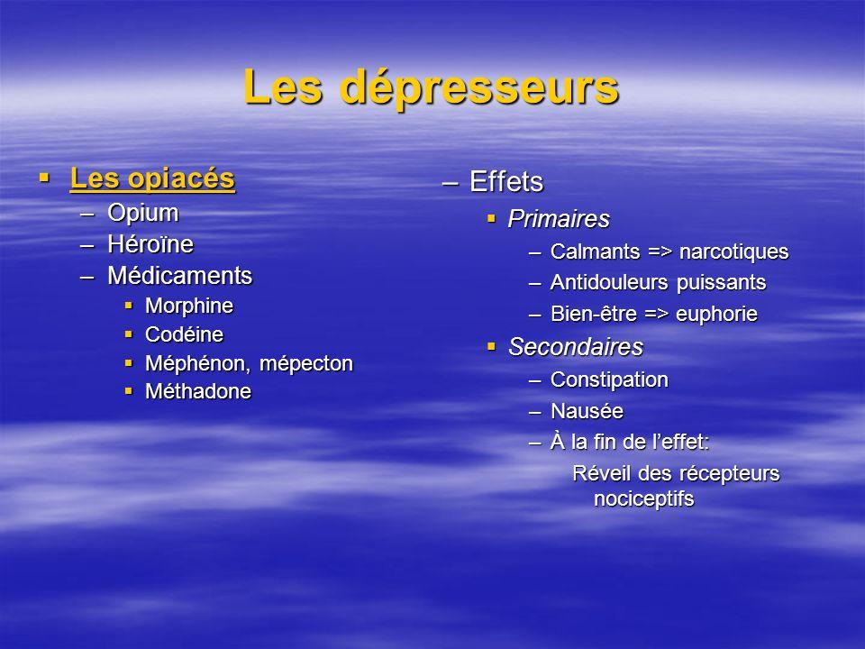 Les dépresseurs Les opiacés Les opiacés –Opium –Héroïne –Médicaments Morphine Morphine Codéine Codéine Méphénon, mépecton Méphénon, mépecton Méthadone Méthadone –Effets Primaires –Calmants => narcotiques –Antidouleurs puissants –Bien-être => euphorie Secondaires –Constipation –Nausée –À la fin de leffet: Réveil des récepteurs nociceptifs