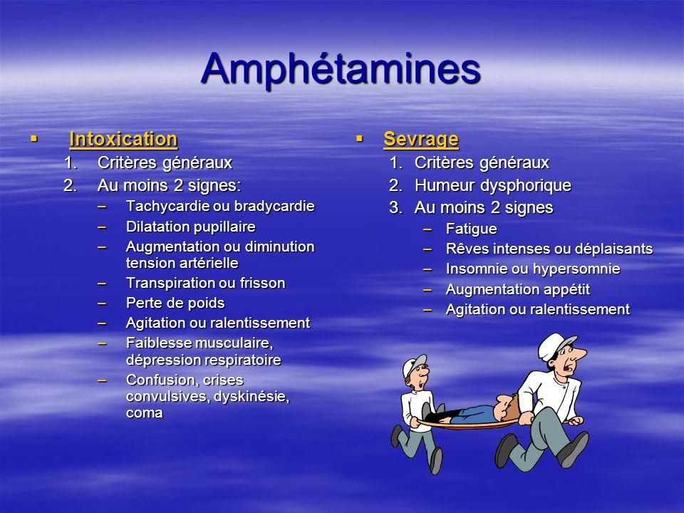 Les stimulants Amphétamines et dérivés (XTC) Amphétamines et dérivés (XTC) Ecstasy, XTC: Ecstasy, XTC: –Effets Augmentation des sensations Augmentation des sensations Désinhibition sociale Désinhibition sociale Absence de sensation de fatigue Absence de sensation de fatigue Parfois agitations paroxystiques (XTC) Parfois agitations paroxystiques (XTC) Tachycardies mortelles avec hyperthermie et déhydratation Tachycardies mortelles avec hyperthermie et déhydratation –Bon usage et mésusage: Pas assez de recul XTC et destruction neuronale.