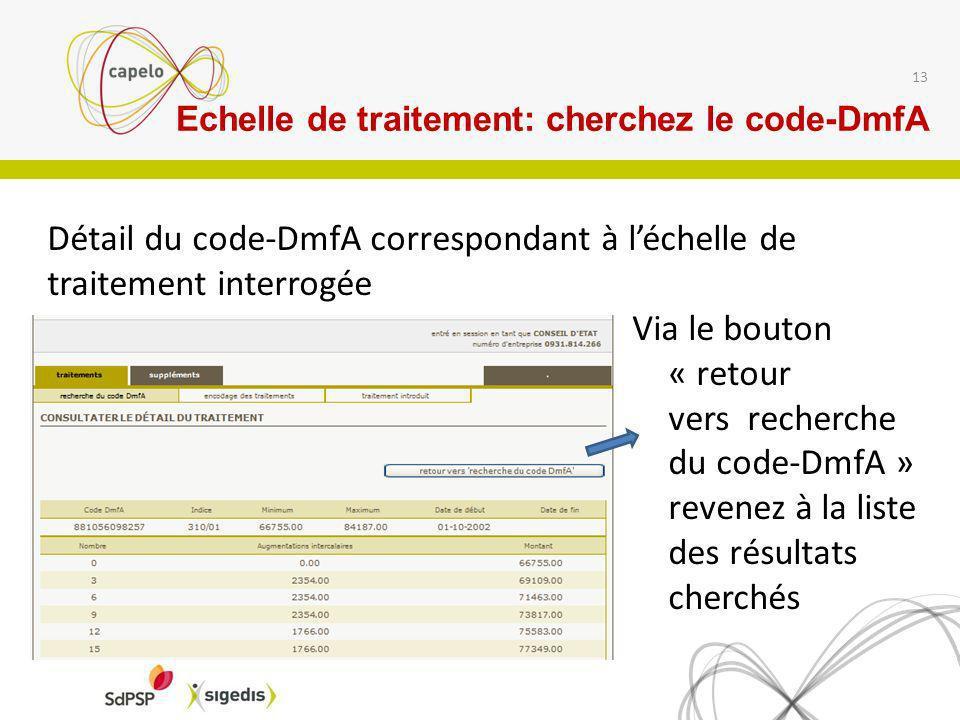 13 Via le bouton « retour vers recherche du code-DmfA » revenez à la liste des résultats cherchés Détail du code-DmfA correspondant à léchelle de trai