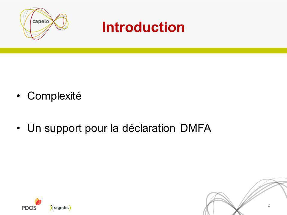 Introduction Complexité Un support pour la déclaration DMFA 2