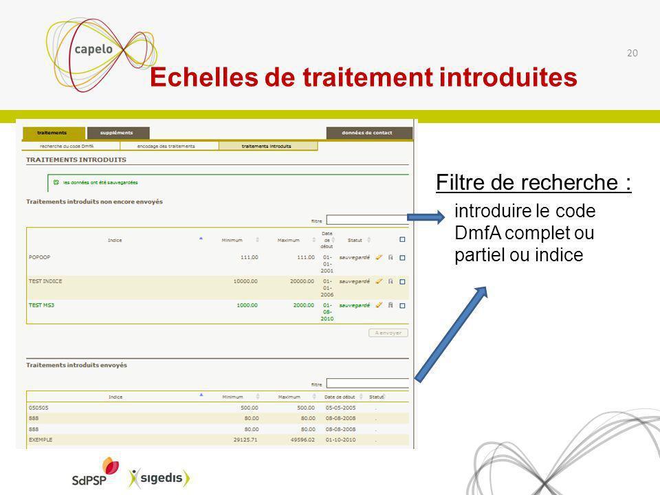 Echelles de traitement introduites Filtre de recherche : introduire le code DmfA complet ou partiel ou indice 1 20